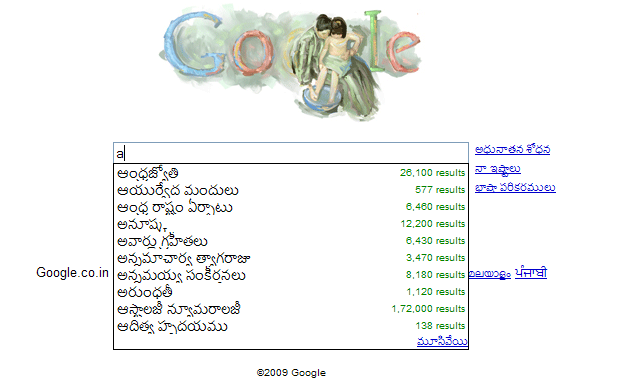 Telugu search suggestions in Google