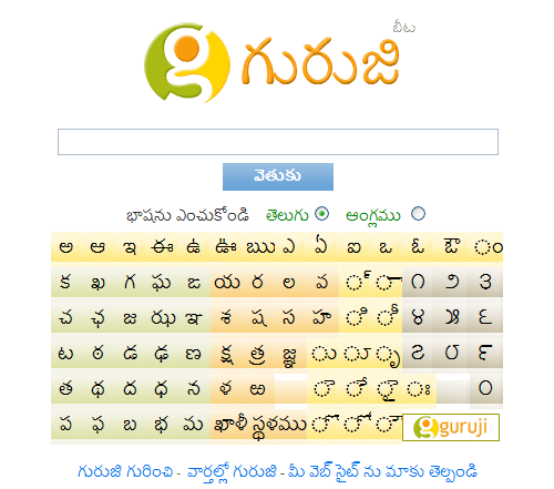 On-screen typing facility in Guruji.com
